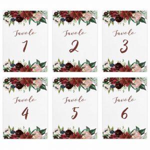 Set segnatavolo Brooke numeri da 1 a 6
