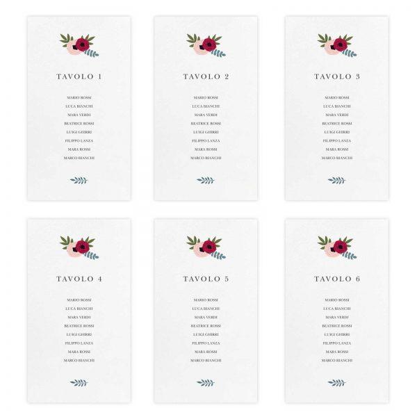 Set cartoncini tableau de mariage Sarah - Numeri da 1 a 6