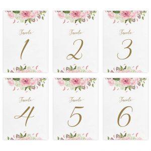 Set segnatavolo Beatrix - Numeri da 1 a 6