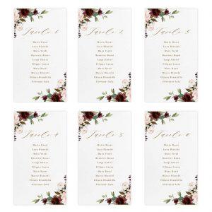 Set cartoncini tableau de mariage Catherine - Numeri da 1 a 6